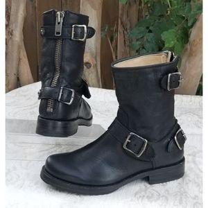 Frye Veronica  back zip buckled moto boots. Sz 5.5